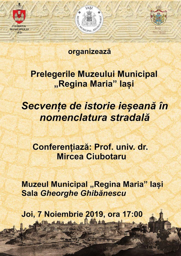 """""""Secvențe de istorie ieșeană în nomenclatura stradală"""""""