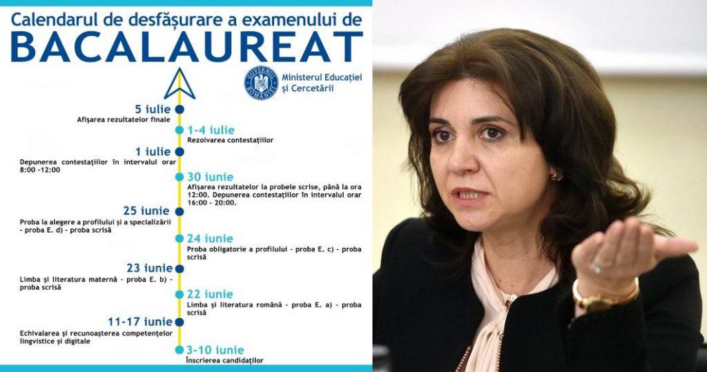 Monica Anisie a aprobat noul calendar de organizare și desfășurare a examenului național de Bacalaureat – 2020